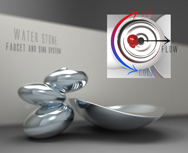 Water Stone Faucet and Sink System by Omer Sagiv