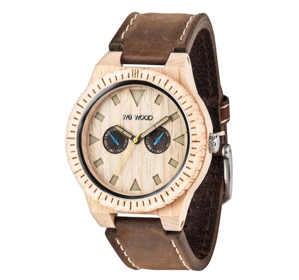 Leo Leather Beige Wooden Watch from WeWood