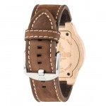 Leo Leather Beige Wooden Watch Features Brushed Leather Band