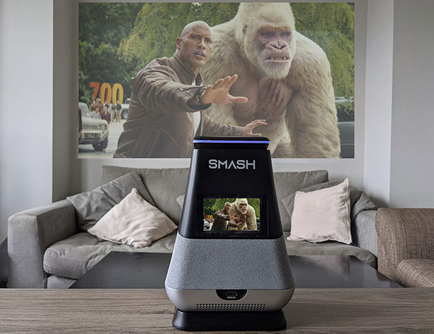 WooBloo SMASH Smart Portable Speaker with Built-In Projector