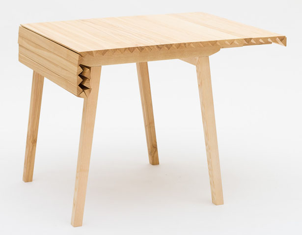 Expandable Wooden Cloth Table by Nathalie Dackelid