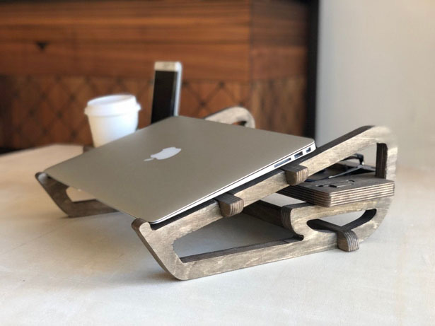 Wooden Laptop Stand with Organizer