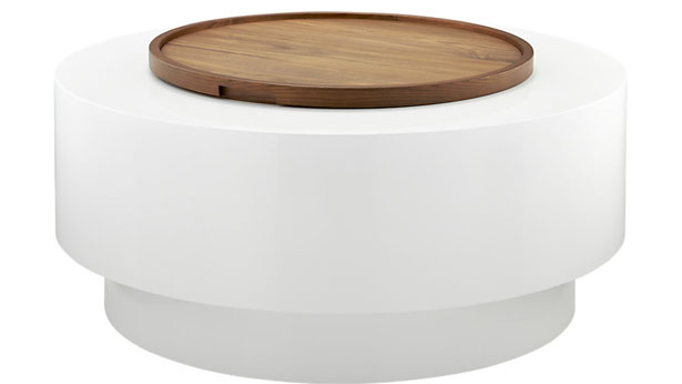 Ya ya round storage coffee table by lenny kravitz mixed sign for Cb2 round coffee table